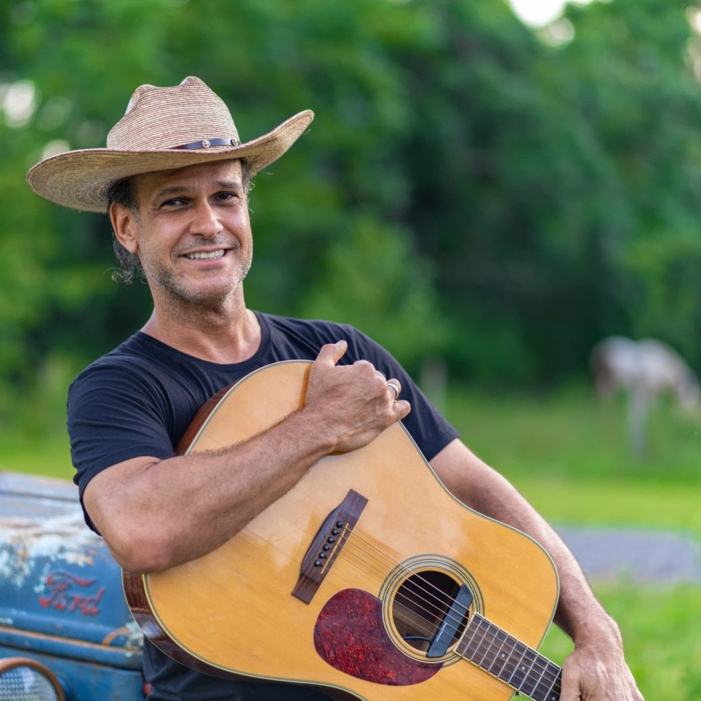 Liam guitar tractor smile