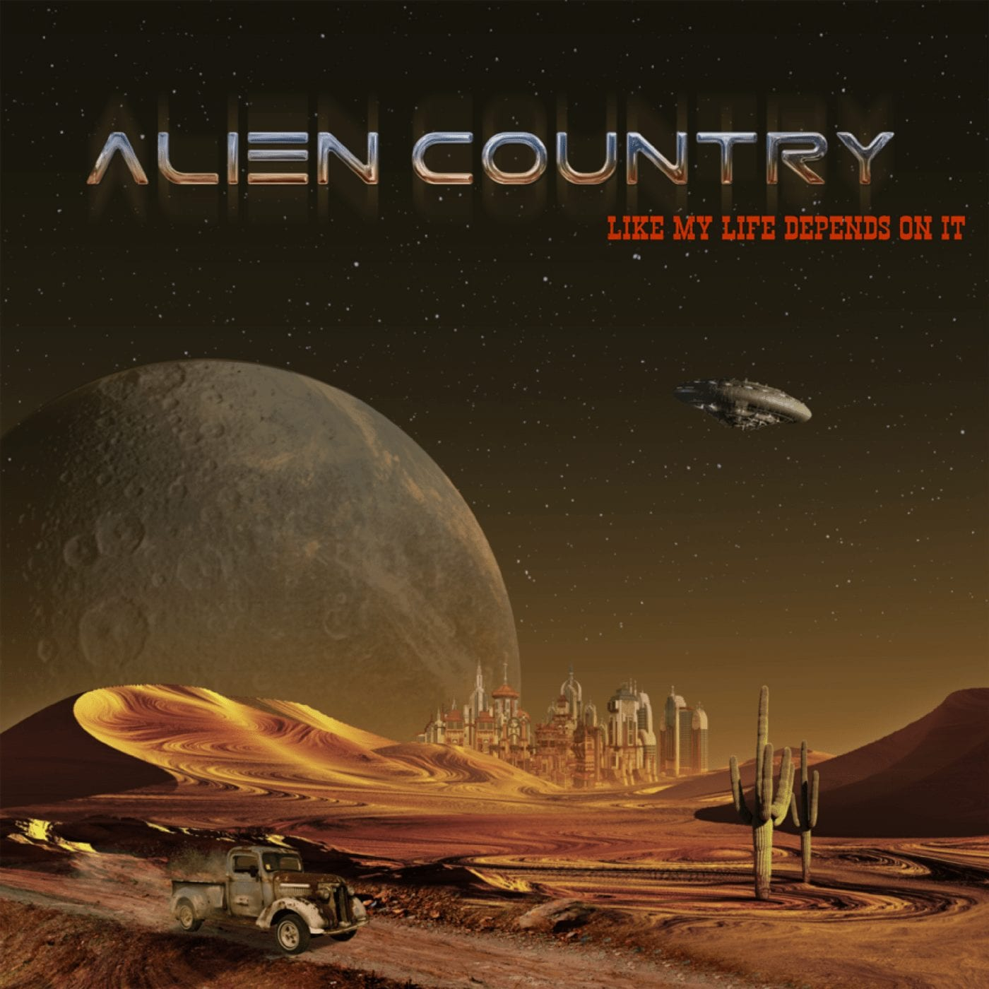 a vintage pickup truck drives down a dusty desert road of an alien red planet. Hank Williams